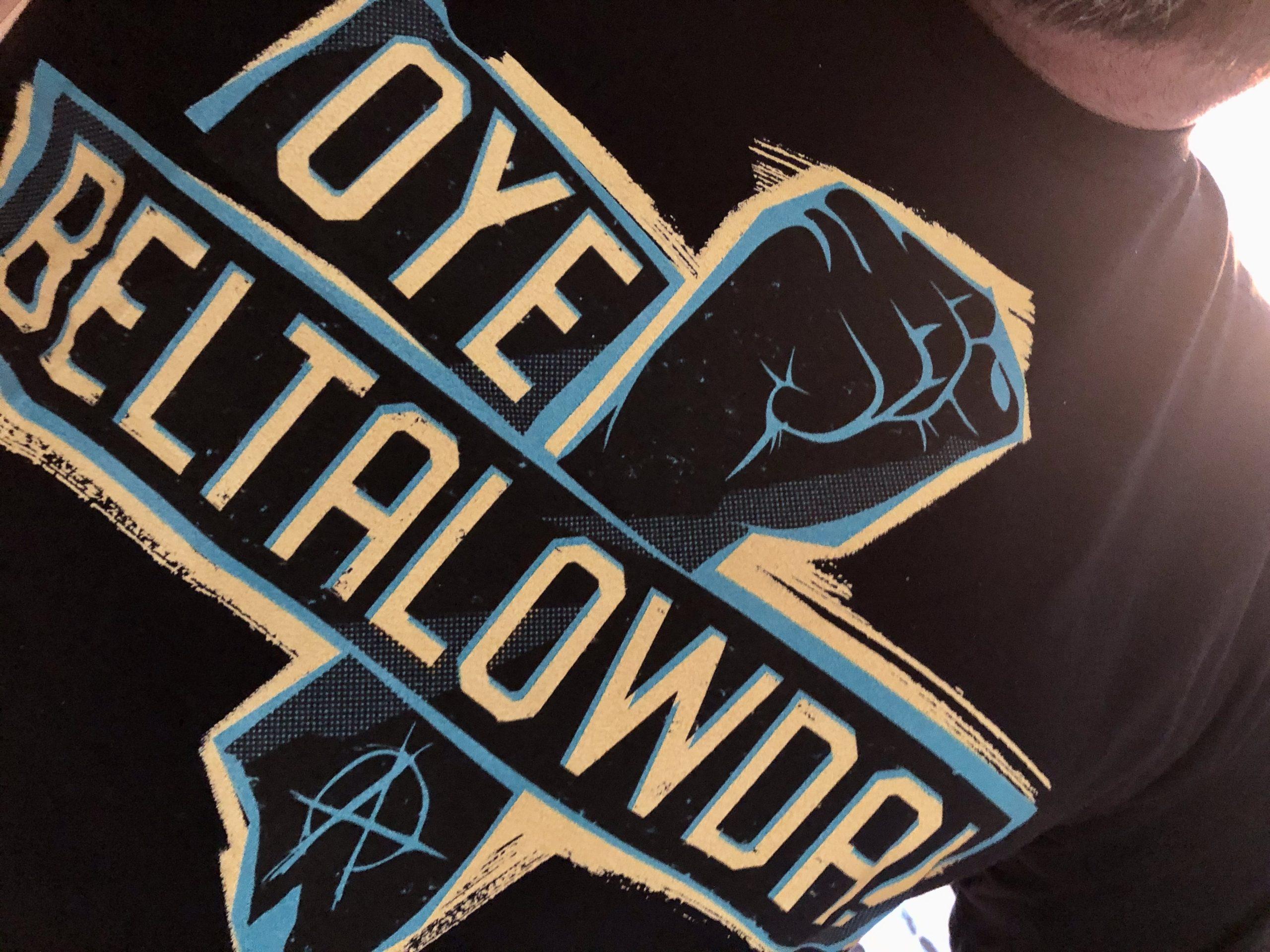 """T-Shirt mit """"Oye Beltalowda""""-Schriftzug"""